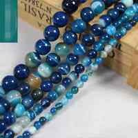 """Blue Carnelian Natural Agate Gemstone Round Beads 15"""" 4mm 6mm 8mm 10mm 12mm"""