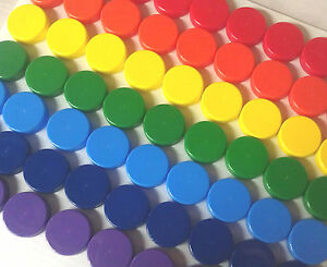 100-SMALL-Plastic-JARS-Mini-1-tsp-RainBow-Color-Caps-Container-Geocache-DecoJars