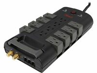 Rosewill Premium 12 Outlet Power Surge Protector with RJ11 and Coax Protection