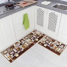 Carvapet 2 Piece NonSlip Kitchen Mat Rubber Backing Doormat Runner Rug Set,