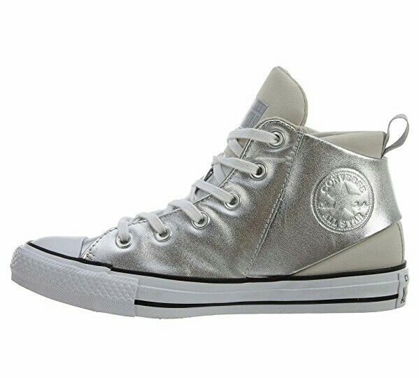 Converse All Star Sloane Silver Leather Mid Sneakers Trainers Women 5.5 Metallic