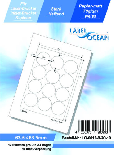 Laser Inkjet Kopierer 10 Blatt Klebeetiketten DIN A4 weiß 63,5mm rund