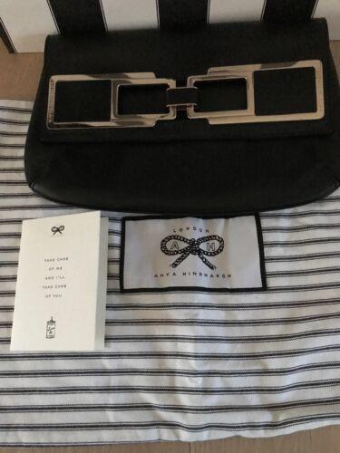 Anya morbido Clutch in Hindmarch nero Rrp al speciale 2x pelle £ 695 Usato scamosciata Glam vitello burro prpWw8qRS