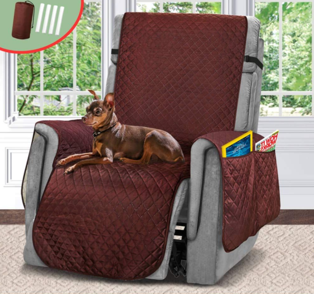 Recliner Arm Chair Cover With Side Pockets Lazy Boy Protector Stays In Place New
