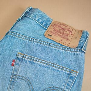 Vintage-Levi-501-Jeans-blau-Straight-Button-Fly-unisex-Patchw-34l36-W-32-L-35