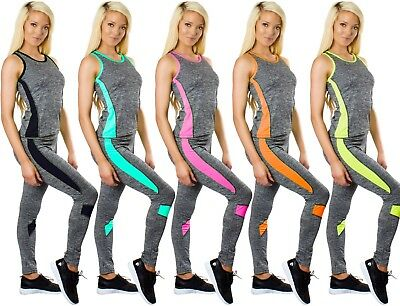 Schnelle Lieferung Ladies Yoga Gym Sports Fitness Stretch Running Trousers Tops Exercise 2-pcs Set üPpiges Design