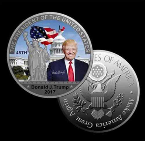 /<STUNNING~DETAIL/>COLORIZED DONALD TRUMP $100 Banknote /& Coin W// CASE~U.S SELLERy