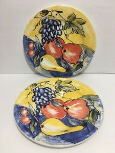 Pier-1-One-Discontinued-Handpainted-Fruit-Ceramic-Dinner-Plates-Made-In-Italy