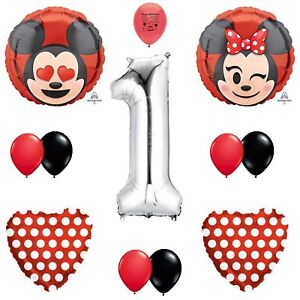 Details About Mickey Mouse And Minnie Mouse Party Supplies Emoji Red Black 1st Birthday Bal