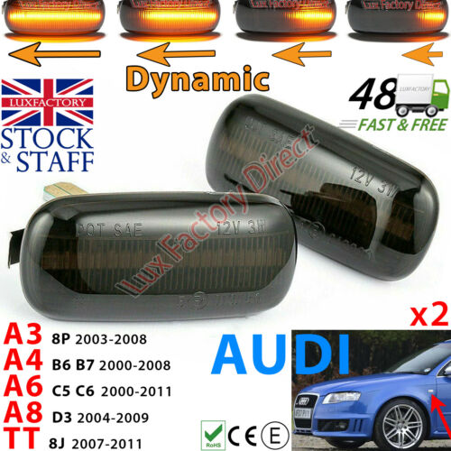 MENS GIFT IDEA Audi A3 S3 8P A4 A6 Dynamic LED Sequential Side Indicator Smoked