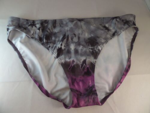 NWT Island Escape Shaper Bikini Bottom Black Gray Purple Sz 14 Style 709343