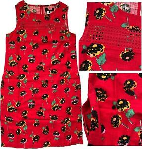 NEW-IN-NEXT-Summer-RED-FLORAL-Linen-Blend-Tunic-Shift-Pocket-Dress-8-26-R-amp-P