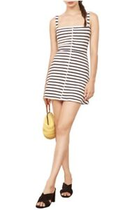 bc2aac43fc92 Image is loading NWT-Reformation-Nellie-Ribbed-Mini-Dress-White-Black-