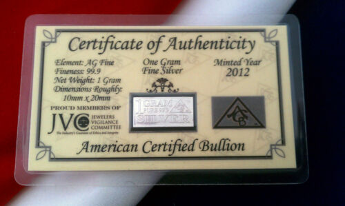 x5 of ACB Silver 1 Gram AG Bar 99.9 Fine /> Certificate Authenticity Great Gift !
