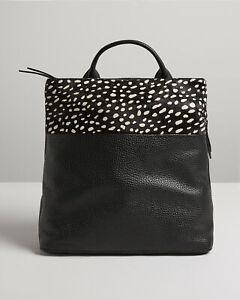 Oliver Bonas Women Joni Textured Spot Print Black Leather Backpack