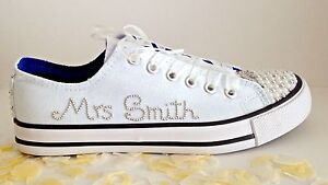 0da4c4d6022d Image is loading Wedding-Bridal-Trainers-Shoes-Personalised-Faux-Pearls-UK-