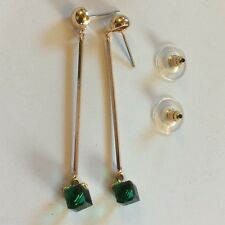 J09 Emerald drop dangle 18k gold pltd earrings 58mm long, 5mm crystal cube BOXD