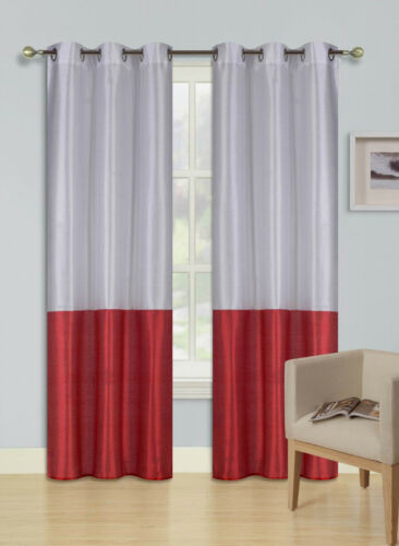 1 SILKY 2 TONE SOLID GROMMET FAUX SILK WINDOW CURTAIN PANEL HEIDI WHITE RED