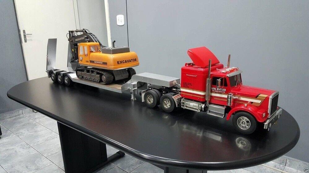 3-axis   Pintado Aluminio Lowboy Remolque Para Tamiya 1 14 Camión Tractor Nuevo En Caja