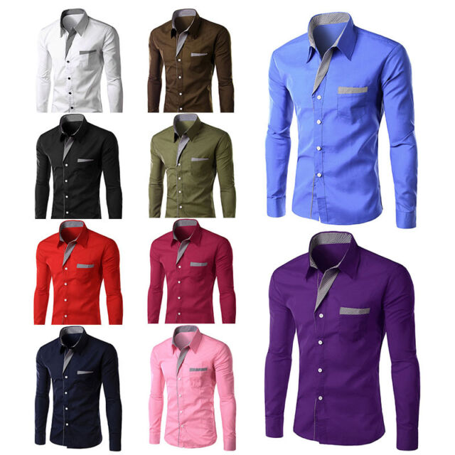 New Men Fashion Casual Long Sleeve Formal Chemise Design Casual Slim Fit Shirts