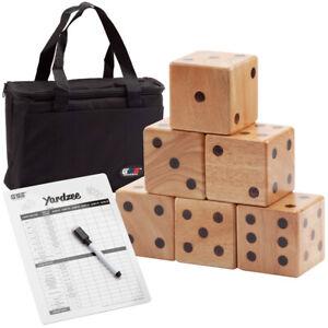 3-5-034-Oak-Wood-Giant-Yard-Dice-Set-w-Carrying-Bag-for-Outdoor-Backyard-Lawn-Game