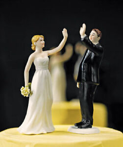 High-Five-Bride-and-Groom-Fun-Wedding-Cake-Topper-WITH-Custom-Hair-Colors