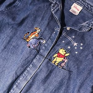 0b6eeede Image is loading WINNIE-THE-POOH-embroidered-Denim-button-down-shirt-