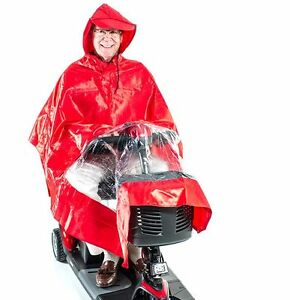 Scooter-Rain-Poncho-Red-Challenger-Mobility-J800-Lightweight-Waterproof-amp-Cape