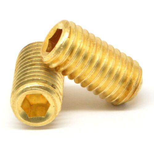 "#10-32 x 5//16/"" Fine Thread Socket Set Screw Cup Point Brass"