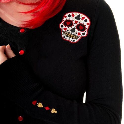 BLACK RED Sugar Skull Banned Cardigan 8 10 12 14 Rockabilly Gotico Tatuaggio POKER