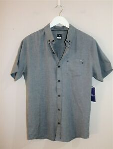 Rip-Curl-Brand-Men-039-s-Monitor-Short-Sleeve-Grey-Button-Up-Size-M-BNWT-SY77