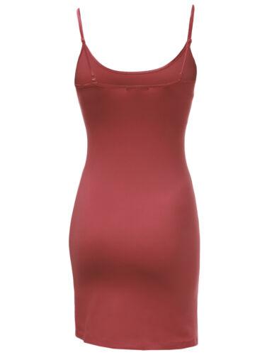 FashionOutfit Women/'s Basic Solid Cotton Based Spaghetti Strap Cami Slip Top