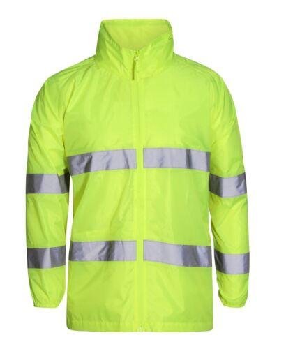 Jb/'s wear Kids Hi Vis  Bio-Motion Zip Safety Jacket Concealed Hood Shower Proof