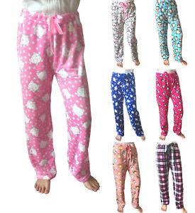 Le-donne-inverno-caldo-accogliente-Lounge-in-Pile-Morbido-Peluche-Pajama-Sonno-pantaloni-Sleepwear