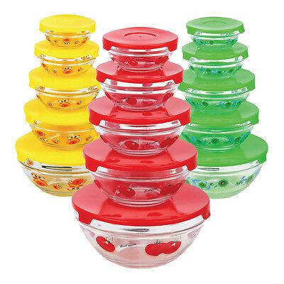 10 Piece: Decorative BPA-Free Glass Storage Nesting Bowl Set with Clip Lids