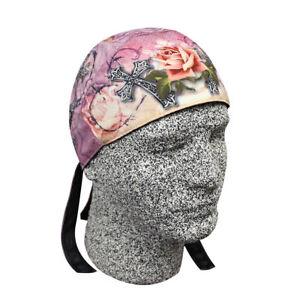 Pink-Black-Rose-Iron-Cross-Platinum-Durag-Doo-Rag-Skull-Cap-Sweatband-Biker-Lady