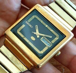 Seiko 6309-5030 Auto TV Dial Brown Gold Plated Mens Vintage Aug 1978 Japan Watch
