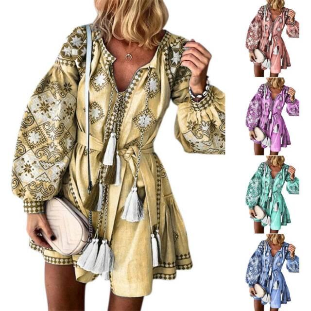 Women Boho Floral Tassels Mini Shirt Dress Ladies Casual Long Sleeve Tunic Dress