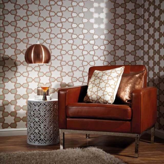 Arthouse Rio Copper Brown Grey White Glitter Wallpaper 690700