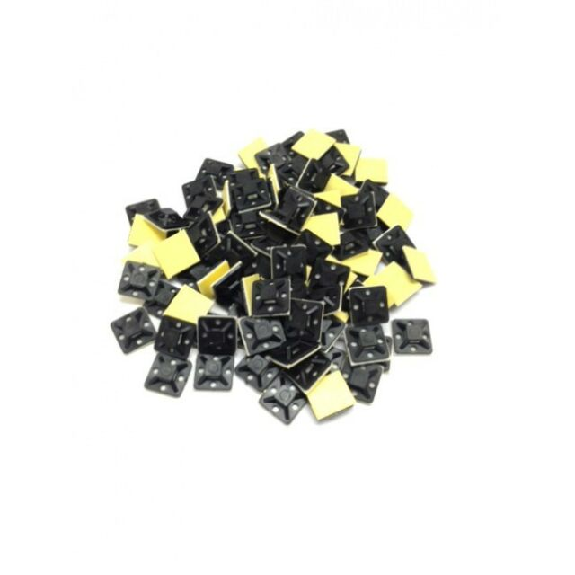 500 x 20 x 20mm Square Cable Tie Mounts BLACK - Zip Tie Mounting Base