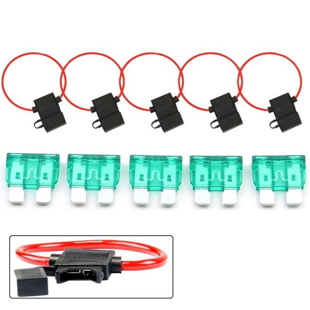 5pack 10 gauge in-line atc fuse holder + 30 amp fuse cover car truck