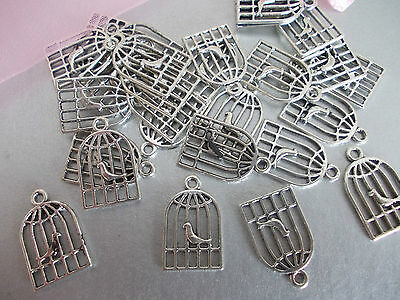 20 x Birdcages Silver Tibetan Metal Charms,Pendant Necklace,Jewellery making