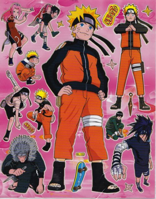 NEW NARUTO STAND POSE SCRAP BOOK STICKERS OR ROOM DECOR HQ  (BUY 5 MIX FREE 1)
