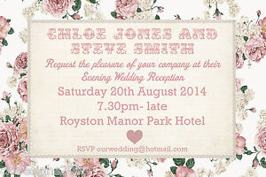Vintage-Shabby-Chic-Personnalise-Mariage-ou-soiree-invitations-invite