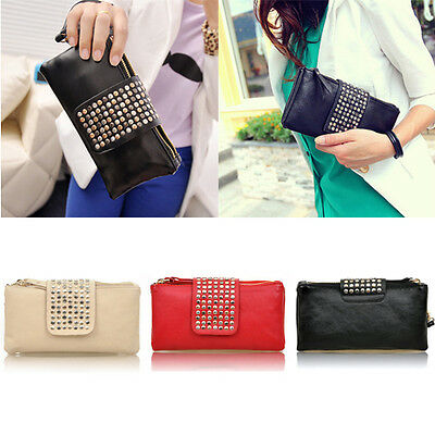 Women Charming Rivet Wallet Card Coin Clutch Purse Wristlet Chic Evening Bag