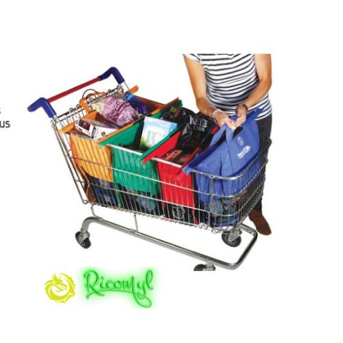 Super Cool Trolley Bags 4 Sacs Courses Poignées Renforcées Pratique Pour Caddie