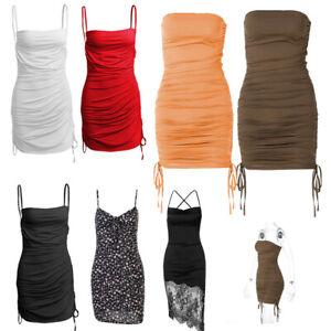 Women's Spaghetti Strap Dress Summer Beach Party Club Sleeveless Ruched Dress