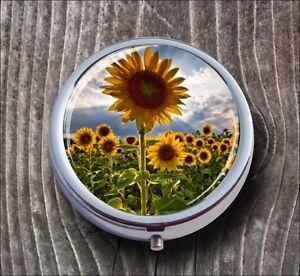 FLOWERS-SUNFLOWERS-MEADOW-LANDSCAPE-DESIGN-PILL-BOX-ROUND-METAL-ghj8Z