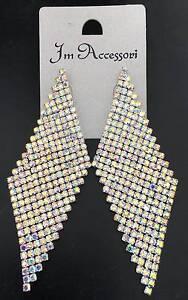 Elegante Grande orecchini con Strass da Donna con cristalli oro,argento colori
