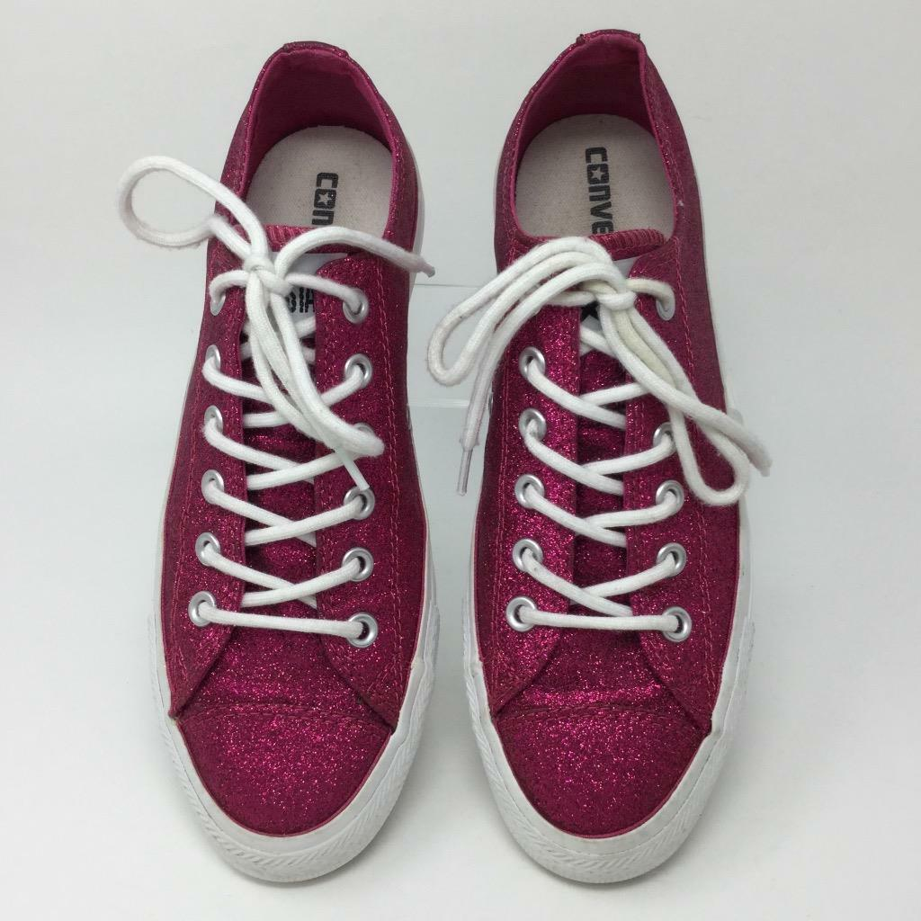 Converse Niedrig Top Sneakers Hot Pink Glitter Sparkle Sneakers Top Schuhes Damenschuhe Größe 8.5 ac61f4